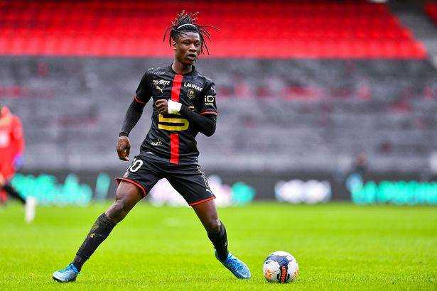 Eduardo CAMAVINGA of Rennes during the Ligue 1 soccer match between Stade Rennais and RC Strasbourg at Roazhon Park on March 14, 2021 in Rennes, France.  (Photo by Baptiste Fernandez / Icon Sport via Getty Images)