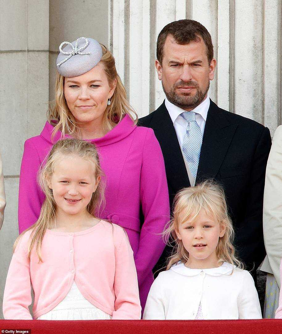 Ten-year-old Savannah Phillips, born 2010, is the Queen and Philip's eldest great-grandson (left) while her younger sister, Isla, just turned nine and was born in the year of Queen's Diamond Jubilee in 2012 (pictured with Autumn and Peter in 2019)